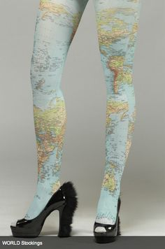 Map of the World Tights/World Map Stockings - don't think I'd ever wear these but they're neat. Furry shoes are weird. Look Fashion, Fashion Shoes, Girl Fashion, Pantyhosed Legs, Stocking Tights, Love And Lust, Costume, Tight Leggings, Shoe Collection