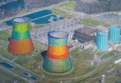 color field.  Nuclear cooling tower artwork by PopAtomic Studios