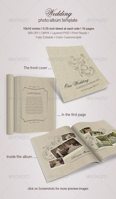 Wedding Photo Album  #GraphicRiver          Design in PSD format file   Used fonts : District Pro Thin, Flemish Script BT