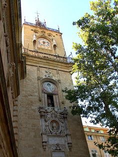 "Tour de l'Horloge (or ""The Clock Tower"") in Aix-en-Provence, still ringing each hour after 5 centuries of existence"