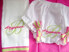 Fancy Pants and Burp Cloth Set for a Baby Girl by flauntthename, $20.00