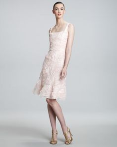 Floral-Applique Sleeveless Dress by Carmen Marc Valvo at Bergdorf Goodman.