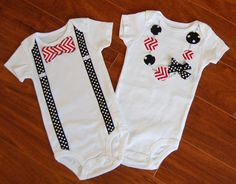 Swanky Baby Twin Girl/Boy Set of two matching onesies. $32.50, via Etsy.