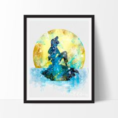Little Mermaid Watercolor Art. This art illustration is a composition of digital watercolor images and silhouettes in a minimalist style.