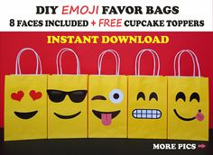 ***This Listing is for a PRINTABLE - INSTANT DOWNLOAD File to make your own EMOJI Party Bags*** SAVE $$ with these EASY Printable Templates...and make your own Favor Bags!! Simply: Download, Print, Cut and Glue the face cutouts onto the bags! That easy! Printing is unlimited!! So