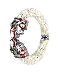 Pearl Bracelet Cuff with Minakari Work