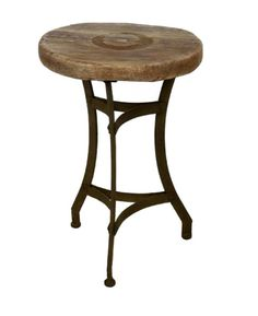Mesa velador forjada arc con madera vieja mesas y sillas - Mesas con estilo ...