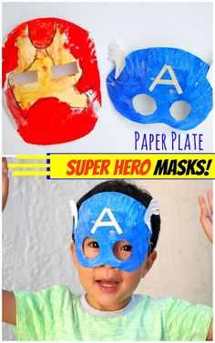 how to make avenger super hero paper plate masks- iron man and captain america