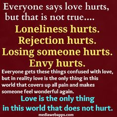 Everyone says love hurts,  but that is not true.  Loneliness hurts.  Rejection hurts.  Losing someone hurts.  Envy hurts.  Everyone gets these things confused with love,  but in reality love is the only thing in this  world that covers up all pain and makes  someone feel wonderful again.  Love is the only thing  in this world that does not hurt.