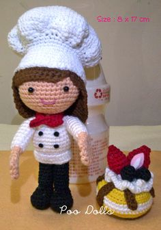 Amigurumi Girl Chef with Strawberry Cheese Cake #PooDolls