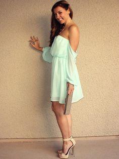 Off Shoulder 'Pixie' Dress (Mint)