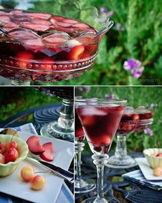 Summer Sangria with Rum - love this recipe and I ADORE that punch bowl and those glasses!