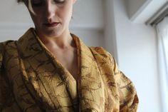 Bamboo print vintage silk kimono gold brown by WildRosebudDesigns, $125.00