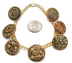 Cupids Garden Antique BUTTON charm bracelet by AlliesAdornments 82