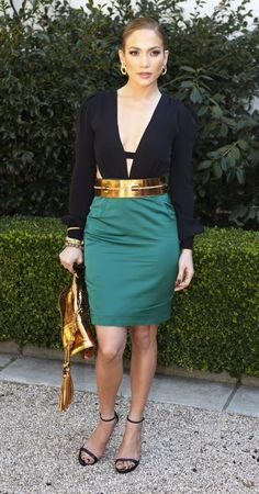 Jennifer Lopez in green skirt, gold belt and high heels - I adore absolutely everything about this outfit!