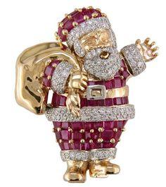 Oscar Heyman gold/platinum ruby & diamond santa claus brooch