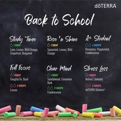 Great diffuser blends for the kids at school  •OR• Double the drop  count and add to a roller ball topped with fractionated coconut oil for some great roller blends