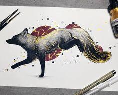 Tried finishing another painting today since Im - Gouache Gemälde - malmittel Furry Art, Art Inspo, Animal Drawings, Art Drawings, Art Fox, Fuchs Tattoo, Arte Punk, Art Du Croquis, Drawn Art
