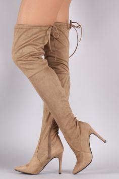Breckelle Suede Drawstring-Tie Pointy Toe Stiletto Boots