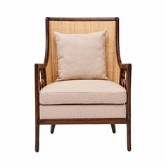 Olivia Gray Linen Accent Chair with Pillow