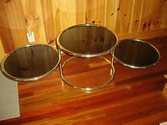 Ames Era Vintage 3 Tier Swivel Brass and Glass Coffee Table Tinted Glass | eBay