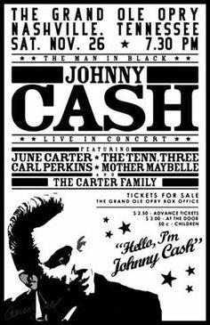 Johnny Cash - Grand Ole Opry - Mini Print