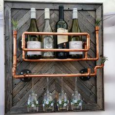 Copper Wine Rack, Industrial Wine Racks, Rustic Wine Racks, Copper Pipes, Driftwood Coffee Table, Driftwood Furniture, Pipe Furniture, 6 Candles, Pictures For Sale