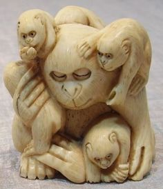 From Estate Detailed Signed Netsuke Man With Monkeys 2 Inch photo