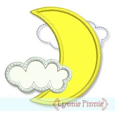 Free Embroidery Designs - Free Crescent Moon with Clouds Applique 4x4 - Welcome to Lynnie Pinnie.com! Instant download and free applique machine embroidery designs in PES, HUS, JEF, DST, EXP, VIP, XXX AND ART formats.
