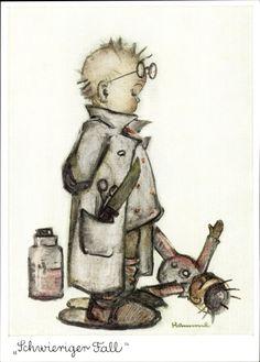 Artist Postcard Hummel, Schwieriger Fall, Junge als Arzt, Puppe, NR 5674