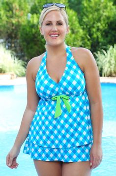 This printed plus size swim tankini with skirt will make you smile every time you slip it on. Plus size girls who have a flair for 60's fashion will love our Always For Me Chic Prints Gingham Check 2