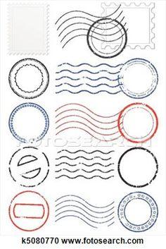 Vector set of postmarks & stamps. View Large Illustration