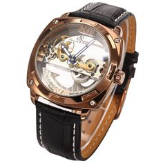 KS Stylish Men Skeleton Steampunk Bridge Leather Band Automatic Mechanical Watch KS135