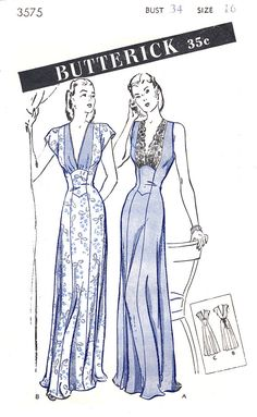 40s 1940s vintage lingerie sewing pattern gown negligee fitted