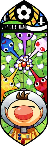 Captain Olimar and the Pikmin all looking straight into the stained glass mosaic.  This vector illustration is really striking, because it gives a great feeling of depth to itself; Olimar and the Pikmin are peering straight down at you from different angles.  Not many shadows and highlights, but that's because of the depth of the illustration.  The background looks like a forest and is perfect for the setting of the game.