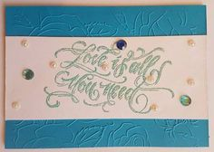 Love is all you need - handmade embossed blue greeting card, Valentine day card, wedding card, love card by ArtDenia on Etsy