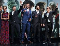 Jeremy Renner Scarlett Johansson Mark Ruffalo Chris Hemsworth Chris Evans and Robert Downey Jr attend the European premiere of 'The Avengers Age Of...