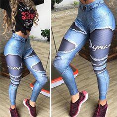 Women Printed Fake Denim Blue Mesh Leggings Elastic Workout Legging Pants Fashion 2019 Female Leggings Plus Size Femme Legging Sport, Sports Leggings, Leggings Are Not Pants, Printed Leggings, Women's Leggings, Mesh Workout Leggings, Workout Pants, Lässigen Jeans, Sports Trousers