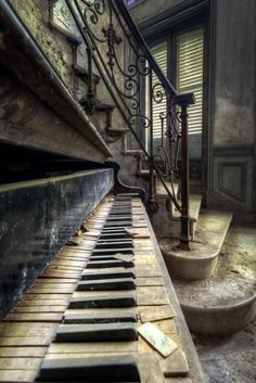 Piano Detail by Roman Robroek on 500px. #abandoned #castle #chateau #decay #lost #piano #staircase #urban #urbanexploration #urbex Abandoned Homes, Old Abandoned Buildings, Abandoned Property, Abandoned Places, Old Buildings, Dark Poetry, Camera Angle, Beautiful Places, Beautiful Notes