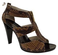 MICHAEL KORS Berkley T-Strap Embossed Leather Sand Sandals (9) - Michael kors pumps for women (*Amazon Partner-Link)
