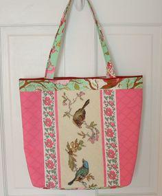 Vintage Needlepoint Birds Tote Bag Purse