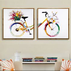 HAOCHU Nordic Decoration Flower Colorful Bicycle Dog Chihuahua Oil Canvas Painting Wall Poster and Prints For Bedroom Home Decor Rangoli Borders, Rangoli Border Designs, Online Shopping, Bicycle Painting, Dream Painting, Mini Canvas Art, Online Painting, Happy Colors, Simple Art