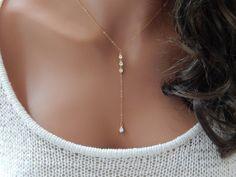CZ Lariat Necklace Diamond Teardrop Lariat by SimpleAndLayered in silver