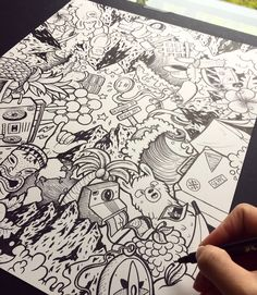 Behind The Scenes By vexx Collage Drawing, Doodle Art Drawing, Art Drawings, Plane Drawing, Doodle Wall, Cute Doodle Art, Kawaii Doodles, Cute Doodles, Pen Doodles