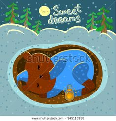 Illustration with a cute sleeping bear. Card with nice cartoon character. Winter greeting card. - stock vector #bear #cute #illustration #christmas #card #handdrawn #cartoon #character #aniwhart