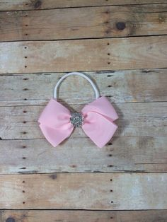 Beautiful Pink Bow Headband with Rhinestone Center on a Nylon Headband - Photography Prop - Fits Baby to Adults - Baptism on Etsy, $6.50