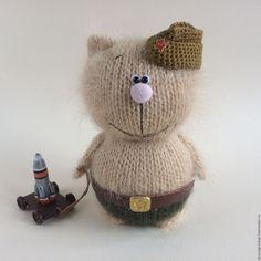 Купить Котенок Ракетчик. - бежевый, вязаный кот, вязаная игрушка, коты и кошки, оригинальный подарок