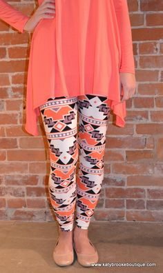 Coral Aztec Leggings: Katybrooke Boutique