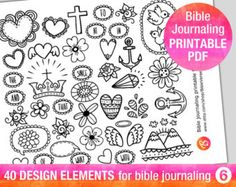 ♥ 26 bible journaling verse art printable templates, illustrated faith bible…