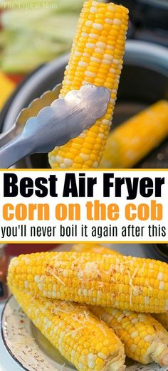 OMG Air Fryer Corn is a GAME CHANGER! OMG Air Fryer Corn is a GAME CHANGER! Air fryer corn on the cob fresh or frozen is cooked to perfection in your Ninja Foodi or other brand in just minutes! Air Fryer Recipes Breakfast, Air Fryer Dinner Recipes, Air Fryer Oven Recipes, Recipes Dinner, Lunch Recipes, Air Fryer Recipes Chicken Tenders, Vegan Recipes, Juicer Recipes, Blender Recipes
